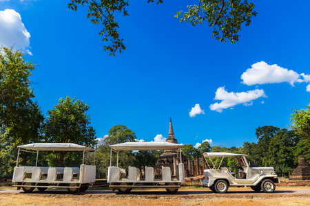 tree world tree service: Sukhothai, Thailand -  November 26, 2015: Tourism shuttle in Si Satchanalai Historical Park, Si Satchanalai Historical Park is the UNESCO world heritage