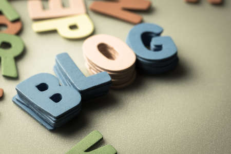 small articles: Stack of small wood letters as Blog word