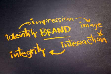 Handwriting of Brand concept on chalkboard Reklamní fotografie