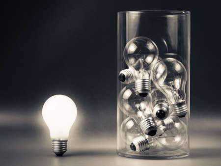 differentiation: White light bulb glowing outside the bottle