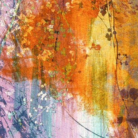 Grunge schilderen met boomtop op doek textuur