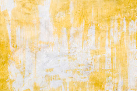 Cement Wall In White And Yellow Paint With Brush Strokes Stock Photo ...