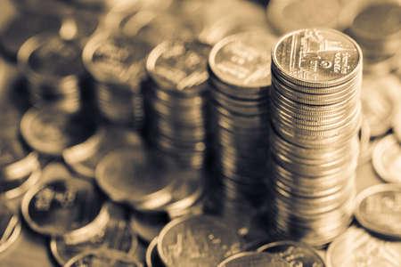 monotone: Heap coins stairs, monotone color