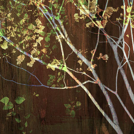 treetop: Vintage treetop on brown painting Stock Photo