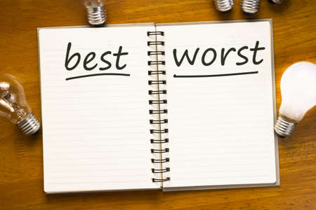 worst: Best versus Worst text on notebook with many light bulbs