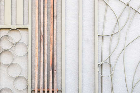 wall decor: Abstract design of wood and metal wall