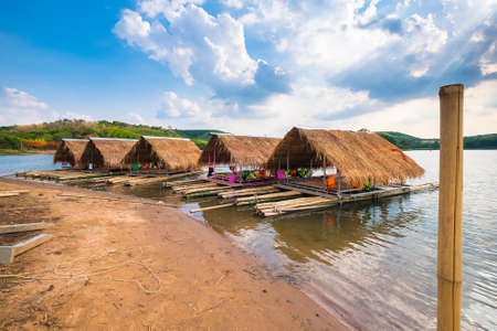 bank activities: Restaurant rafts for tourism in Phitsanulok, Thailand