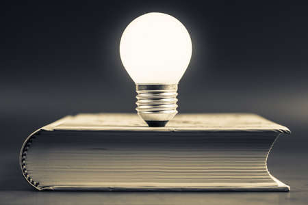 Small light bulb glowing on the book Stock Photo