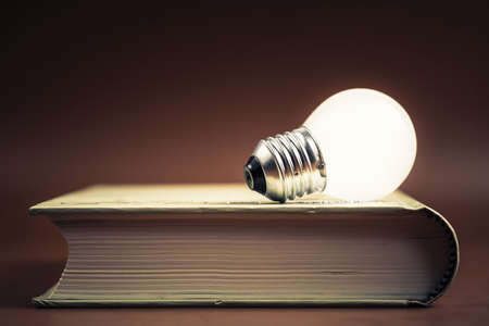 novel: Small light bulb glowing on the book Stock Photo