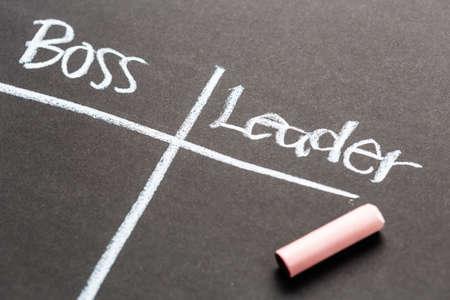 resouce: Boss versus Leader concept on chalkboard