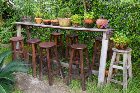 stools: Decorated plants on wood shelf with many stools in the garden