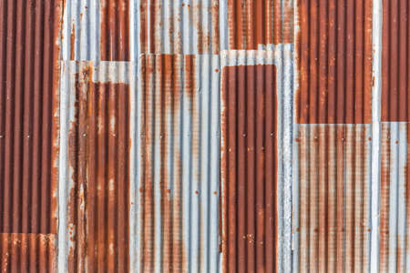 Old galvanized iron wall, corrugated texture
