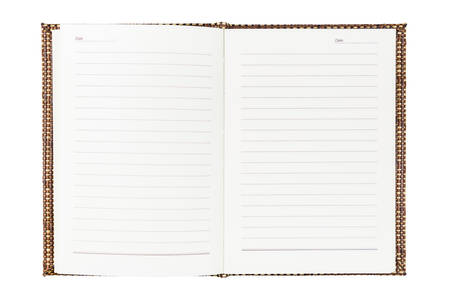 hardcover: Opened blank notebook isolated on white background, hardcover made by weaved wood