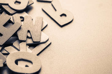 english letters: Scattered English wood letters with copy space Stock Photo