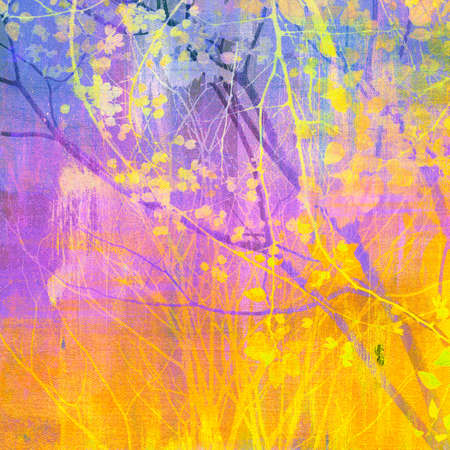 Abstract painting with tree and treetop Stock Photo