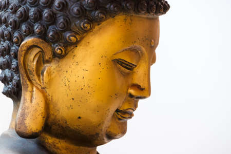 Closeup face of Buddha statue in Chinese style