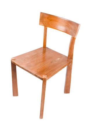 Teak Wood Chair Isolated On White Background Stock Photo