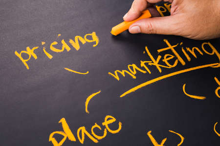 Hand write a Pricing word for Marketing Plan on chalkboard