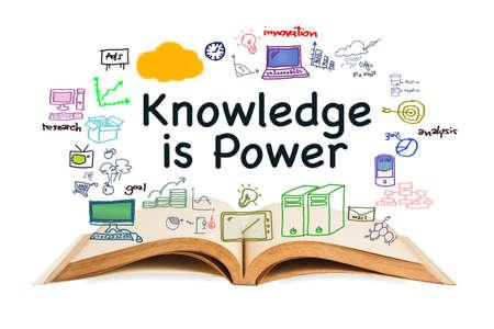지식은 전원, 흰색 배경에 열린 된 책 및 드로잉 아이콘 텍스트