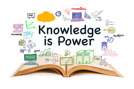 Knowledge is Power, text with opened book and drawing icon on white background