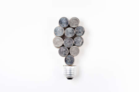 Abstract heap coins bulb on white background, turn idea to success, financial or budget idea