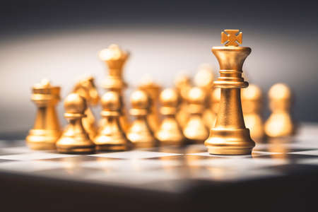 King chess and team on chess board, business leader concept