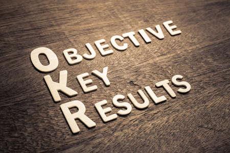 Letras de madera de Objective Key Results (OKR) dispuestas sobre madera