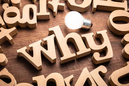 WHY word in scattered wood letters on the table with glowing light bulb Фото со стока