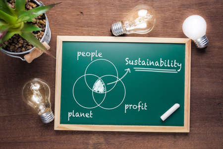 Sustainability topic and union chart of people, planet and profit on chalkboard with glowing light bulbs Stok Fotoğraf - 118074776