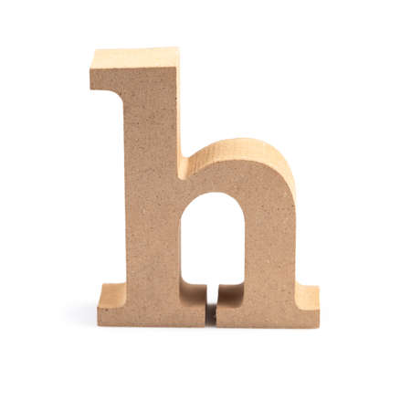 The wooden alphabet H in lower case font isolated on white Stock fotó