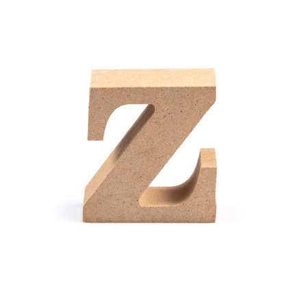 The wooden alphabet Z in lower case font isolated on white