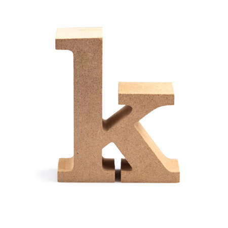 The wooden alphabet K in lower case font isolated on white