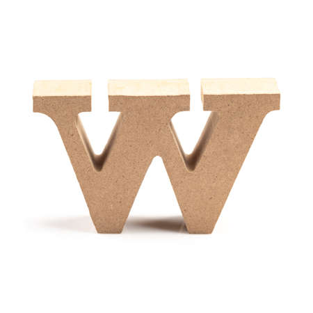 The wooden alphabet W in lower case font isolated on white