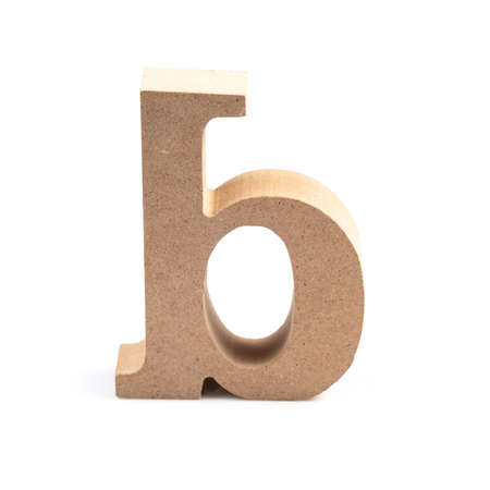 The wooden alphabet B in lower case font isolated on white