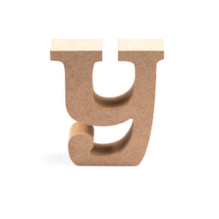The wooden alphabet Y in lower case font isolated on white