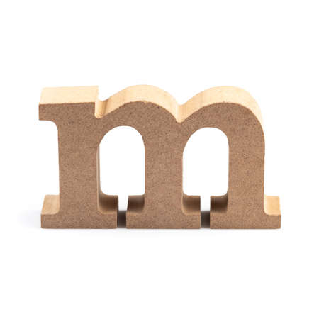 The wooden alphabet M in lower case font isolated on white Stock fotó