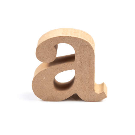 The wooden alphabet A in lower case font isolated on white