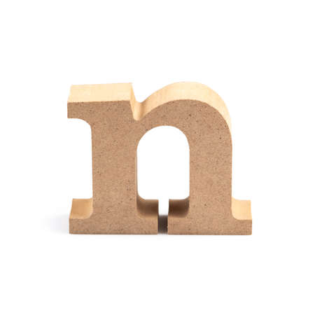 The wooden alphabet N in lower case font isolated on white Stock fotó
