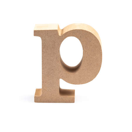 The wooden alphabet P in lower case font isolated on white