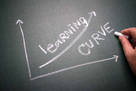 Hand writing a Learning Curve graph on corrugated chalkboard as potential of learning concept 免版税图像