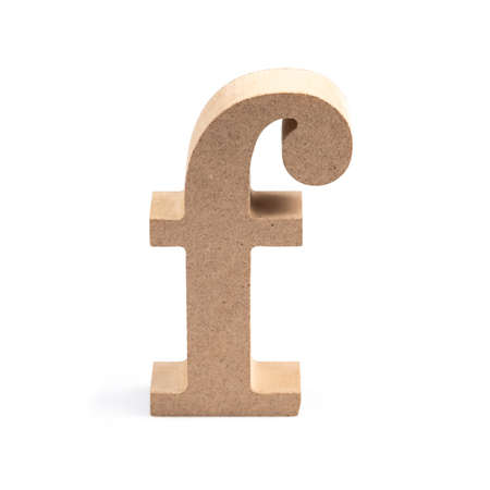 The wooden alphabet F in lower case font isolated on white Stock fotó