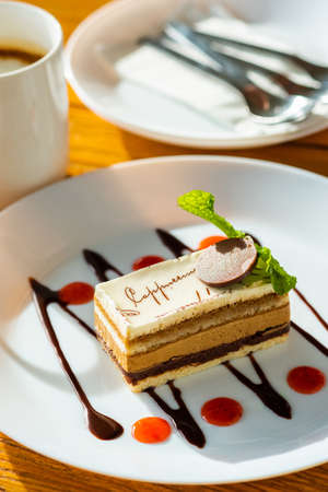 Cappuccino cake  with chocolate and sauce on white plate