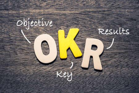 Alfabetos de madera OKR sobre fondo de madera con acrónimo de texto (resultados clave objetivos) Foto de archivo