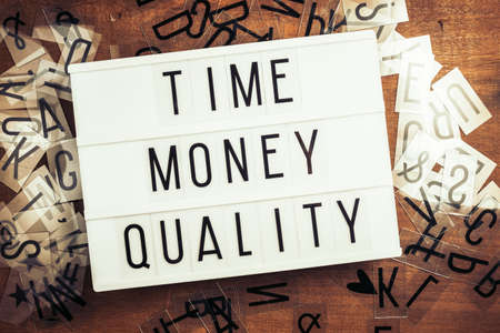 Time, Money and Quality words on the lightbox with plastic alphabets scattered on wood background, three factors of constraint project management