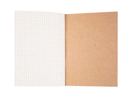 Opened last page of notebook with recycle brown cover, notepad in grid pattern template, isolated on white background