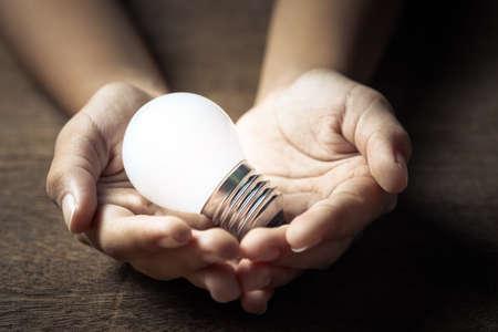 Closeup small light bulb in palm hands for success idea concept