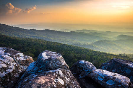 Mountain scenic before sunset at Lan Hin Poom, famous tourist attraction in Phu Hin Rong Kla National Park, Thailand
