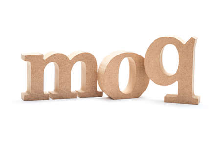 MOQ acronym (Minimum Order Quantity) by wood alphabets isolated on white background