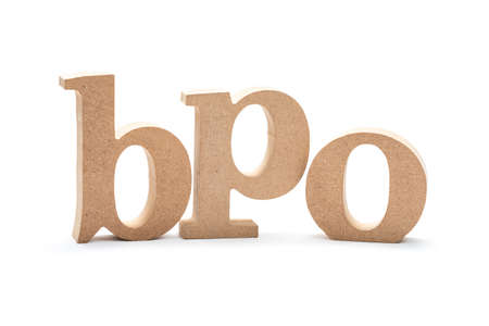 BPO acronym (Business Process Outsourcing) by wood alphabets isolated on white background