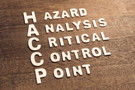 HACCP acronym and definition (Hazard, Analysis, Critical, Control, Point) arranged by wood alphabets